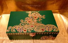 Emerald Green Peacock Keepsake Jewelry Box with Amber, Sapphire and Chrome Gem Stones. Inspired by Henna/Mendhi Design by HennaCreationsofeNVy on Etsy