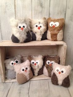 Recycled fur coat baby owls! I love these baby owls.