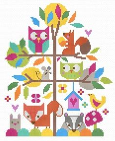 "Forest Fun (CSKFF180) New cross stitch kit designed by The Stitching Shed. Simple design with clear blocks of colour so may be suitable for beginners depending on their ability. Contents: 14 count aida fabric, anchor threads, needle, chart and full instructions. Size: 7.5"" x 10"". *Usually dispatched within 5 working days from our supplier* See the full range of kits by The Stitching Shed."