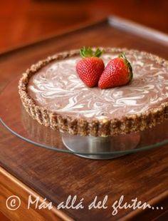 Más allá del gluten...: Pastel Marmolado sin Hornear Con Chocolate Blanco y Negro (Receta GFCFSF, Vegana, RAW)