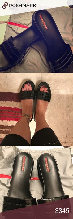 Authentic Prada black sandals Worn once authentic Prada sport black sandals ! They were way too big for me! They have been kept in the dust bag! Size 41  Price is pretty firm These were picked up in Italy! Gorgeous shoes prada sport Shoes Sandals