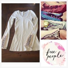 Free People  Meadow Fiesta cuff thermal in oat New and in perfect condition. Off white Meadow color of the ever awesome Free People Fiesta cuff thermal. Extra long length in torso and sleeves. Free People Tops Tees - Long Sleeve