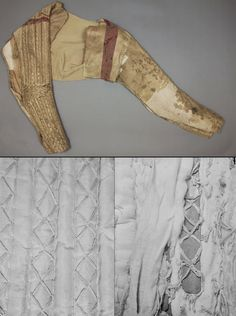 Pansarärm (armored sleeves), early 1600s, fine quality silk ,satin with steel plates sewn under the cloth, belonging to Gustavus Adolphus of Sweden, 1594-1632. the King of Sweden from 1611 to 1632, credited as the founder of Sweden as a great power. He led Sweden to military supremacy during the Thirty Years War, helping to determine the political as well as the religious balance of power in Europe. Livrustkammaren museum, Sweden.