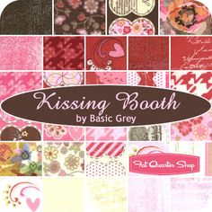 Perfect for Valentine's day.  Kissing Booth Mini Charm Pack BasicGrey for Moda Fabrics