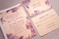 Real Wood Wedding Invitation Vintage Purple by woodchickstudios