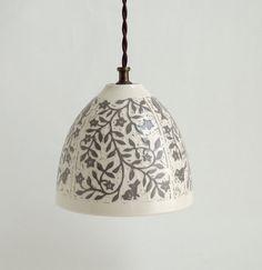 Taupe and White Porcelain Lamp Shade  by SueCanizaresCeramics, $95.00