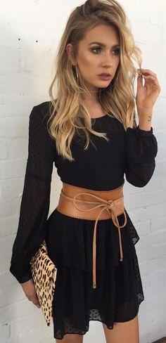 #summer #outfits Little Black Dress + Camel Leather Corset + Leopard Clutch