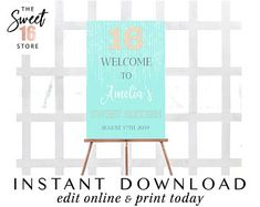 Sweet 16 Sixteen Welcome Sign Teal 16th Birthday, Birthday Parties, Edit Online, Quinceanera Invitations, Sign Design, Teal, Turquoise, Welcome, Sweet 16