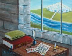"""Hunt for Faith"" is part of my Novel Ideas series on classic books. Pilgrim's Progress is a novel of Christian allegory written by John Bunyan when he was jailed for his faith. It was published in 1678. In my interpretation, his prison cell (life without faith) looks out over the dream of the Celestial City (heaven). The Holy Bible is under the book because it is the foundation in his search to know God and find eternal life. Prints and cards available at www.pamela-poole.artistwebsites.com"