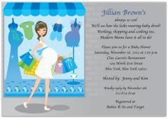 Shop Til You Drop Baby Baby Shower Invitations: Shop Til You Drop Baby features a beautiful pregnant woman happily cruising along with multiple colorf Baby Shower Invitation Wording, Custom Baby Shower Invitations, Invitation Set, Invites, Baby F, Simple Baby Shower, Announcement Cards, Card Envelopes, Baby Store