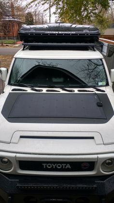 Lensun Flexible Solar Panel mounted to hood - Toyota FJ Cruiser Forum Fj Cruiser Forum, Land Cruiser, Toyota Fj Cruiser, Fj Cruiser Accessories, Solar Pannels, Wilderness Explorer, Expedition Vehicle, Toyota Tundra, Cool Inventions