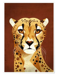 """""""Cheetah"""" is a new poster artwork by the Hamburg illustrator Dieter Braun. On many journeys Dieter Braun studies in detail animals of all kinds and Art Inspo, Kunst Inspo, Inspiration Art, Art And Illustration, Graphic Design Illustration, Animal Illustrations, Illustrations Posters, Illustrations Vintage, Inspirational Wall Art"""