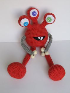 Stuffed Alien Toy cute Plush Monster toy Crochet monster Soft toy Baby gift for kid stuffed monster OOAK red three eyed alien by KrugerShop