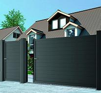 Portail aluminium coulissant VERMONT-COFRECO Main Entrance Door Design, Front Gate Design, Main Gate Design, Door Gate Design, Fence Design, Front Gates, Entrance Gates, Vermont, House Wall Design