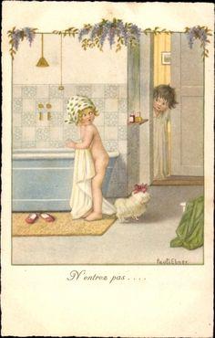 Artist Postcard Ebner, Pauli, N'entrez pas, Kinder, Badewanne