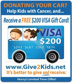 Donate Your Car in New Jersey (or anywhere in the U.S.) receive a $200 VISA Gift Card, and a 3 day, 2 night vacation voucher! Call 1-800-Give2Kids (1-800-448-3254) Car Dealerships, Visa Gift Card, Car Rental, Car Ins, Vacation, Night, Day, Kids, Young Children