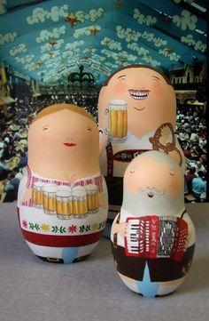 Oktoberfest Babushka Dolls by bobobabushka. Via Etsy.