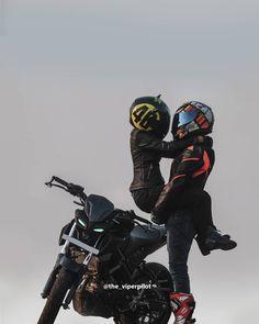 Image may contain: one or more people Biker Couple, Motorcycle Couple, Biker Love, Biker Girl, Moto Wallpapers, Ktm Supermoto, Mt 15, Hello Kitty Bedroom, Biker Photography
