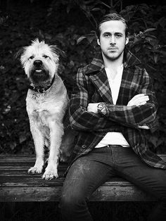 Ryan Gosling and his dog look chic in this fabulous black and white photo!