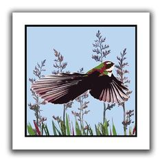 A vibrant paper print depicting a Fantail flying against Harakeke flax. This loose print comes in a secure cardboard roll ready for a frame of your choice. Cardboard Rolls, Kiwiana, Red Dog, Christmas Birthday, Bird Prints, Online Gifts, Dog Gifts, New Zealand, Nativity