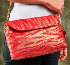 Geniune Leather Women Bag;Evening  Bag, Pink  Dora  Wavy Pattern Genuine Leather by HELIXSIS on Etsy