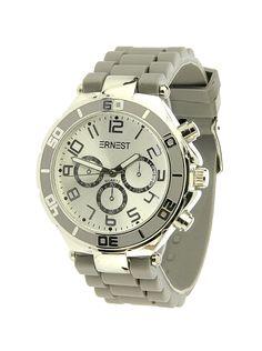 Ernest Horloge Zilver - Grijs is een prachtig zilveren horloge met een grijze kunststoffen band en een zilveren wijzerplaat.