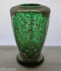 INTENSELY Exquisite MOSER small GLASS VASE 1800s Hand Painted BUTTERFLY Blossoms