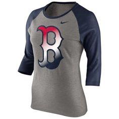Nike Boston Red Sox Ladies Gradient Raglan Three-Quarter Length T-Shirt - Gray/Navy Blue
