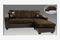 Modern Chocolate Microfiber Leather Sectional Sofa Reversible Chaise
