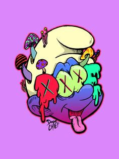 """Trippy Ink & digital This picture is extremely full of color. It a picture of a smurf with mushrooms coming out of its head and its eyes have 'X's in them, as the picture title says """"your childhood on acid"""" is exactly what the picture looks like, the main color in this picture is purple. This picture seems to symbolize that children's cartoons are crazy and the creators must of been on acid to come up with wacky ideas they do. Your childhood on drugs (Visited 37 times, 1 visits today)"""