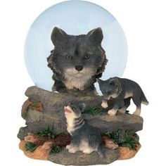 85 mm Black Wolf Overseeing Two Cubs Playing on Rocks Water Globe for only $21.08 You save: $24.91 (54%)