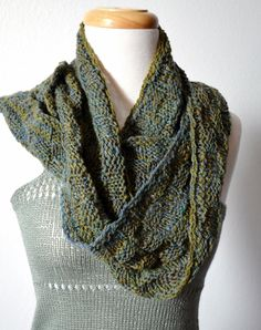 Blue Green Handspun Infinity Scarf / Circle Scarf  A by awkward, $60.00