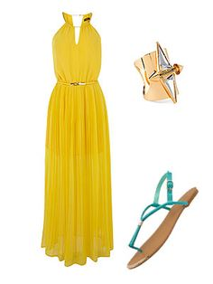 The chain halter style of this Oasis maxi dress, combined with its sheer skirt and gold belt, make it the perfect day to evening attire. Team with heeled sandals or colourful flats like these Primark ones and a statement ring for a bit of sparkle. Sorted. Dress, £70, OasisRing, £4.99, H&MSandals, £4, Primark - Cosmopolitan.co.uk