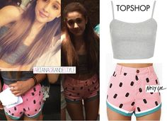 Ariana Grande Style, grey tank top and watermelon shorts!