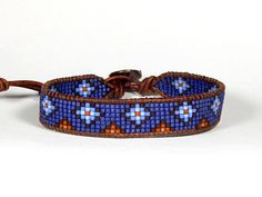 The place to buy and sell everything that is handmade - Midnight blue grain leather Delica seed wrap bracelet stepped diamonds This bracelet is made with D - Loom Bracelet Patterns, Bead Loom Bracelets, Bead Loom Patterns, Woven Bracelets, Bracelets For Men, Seed Bead Jewelry, Beaded Jewelry, Seed Beads, Beaded Leather Wraps