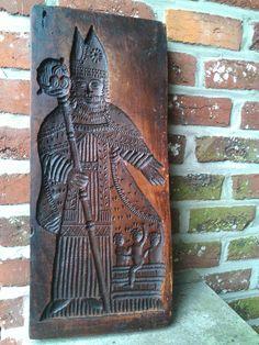 Antique St. Nicholas Wooden Cookie Mold..... Springerle Mold.. (antieke Sinterklaas - St Nicholas - Antik St Nikolaus)