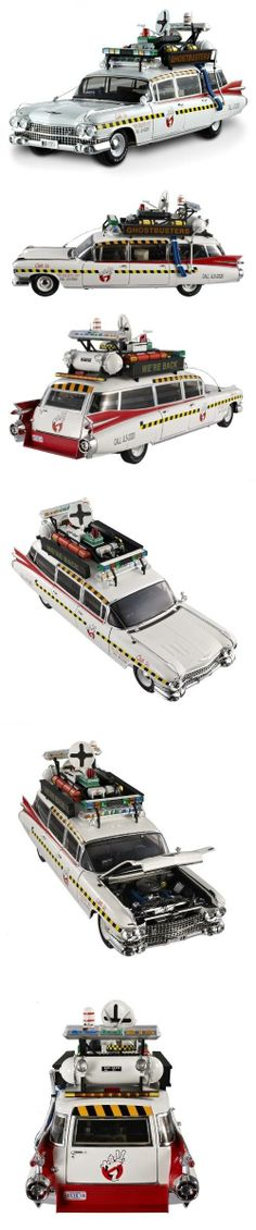 GHOSTBUSTERS ECTO 1A Model Car in 1:18 Scale by Mattel Elite, The Ecto-1a is the second legendary modified 1959 Cadillac used by the Ghostbusters in the 1989 movie Ghostbusters II. This car was an updated version of the Ecto-1 and was equipped with more access..., #Toys, #Die-Cast Vehicles
