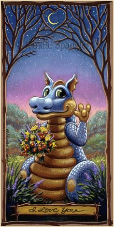 Valentine's day-Sign of Love Dragon by Randal Spangler Dragon Cat, Baby Dragon, Magical Creatures, Fantasy Creatures, Fantasy Dragon, Fantasy Art, Dragon Tales, Randal, Dragon Pictures