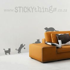 Nothing like some cats to bring a whimsical backdrop to any room! This Cats Wall Sticker is especially effective when positioned as if they are playing on or around your furniture! Each cat decor sticker comes separately so you can place them in more than one room if you like. Perfect as a cat lover gift. And: 7 cat accessories in same colour choice for free! The cats would also work well as a window sticker and can be used on hard furniture like drawers etc.