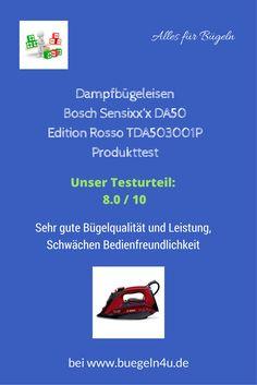 Damfbügeleisen Bosch Sensixx'x DA50 Edition Rosso TDA503001P Produkttest Sehr gute Leistung, sehr gute Bügelqualität, Schwächen Bedienfreundlichkeit #buegeln. #Hausgeräte #sparen #Produkttest #Schnäppchen