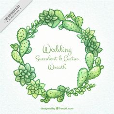 Hand painted wedding succulent & cactus wreath Free Vector