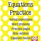 11 pages of equation activities! Pages include practice worksheets including models, word problems, and create your own.Worksheets include stud...