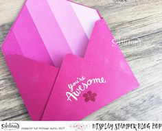 You're Awesome Card using @stampinup 2017-18 in colours Berry Blast and Lemon Lime, as well as Great Big Greetings stamp set and the envelope punch board with the Color Theory Paper Stack by Cathy Caines @CSMscrapbooker #onstage2017 Stampin' Up! Artisan Design Team Display Stamping Blog Hop