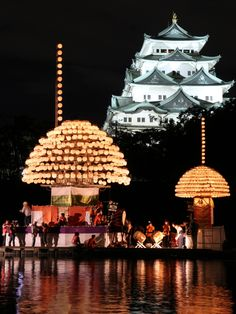 Nagoya Castle and festival boats with lanterns, Aichi, Japan ©pochi 名城・堀川まきわら祭り