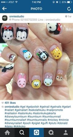 Not actual porn, just nails! 💅🏻💅🏼💅🏽💅🏾💅🏿None of these nails are mine unless stated. Cute Nail Art, Cute Acrylic Nails, Gel Nail Art, Disney Inspired Nails, Disney Nails, Disneyland Nails, Kawaii Nails, Nails For Kids, Super Nails