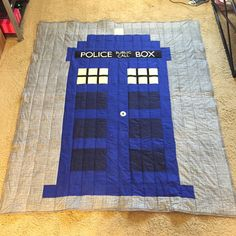 Doctor Who Tardis Quilt by TheNerdyQuilt on Etsy https://www.etsy.com/listing/246057880/doctor-who-tardis-quilt