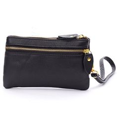 DDDH Women's Genuine Leather Wallet Wristlet Clutch Handbag Key Case Key Holder Small Coin Purse For Iphone 6s(Black) - http://leather-handbags-shop.com/dddh-womens-genuine-leather-wallet-wristlet-clutch-handbag-key-case-key-holder-small-coin-purse-for-iphone-6sblack/