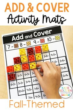 These Fall Add and Cover Mats are perfect for any kindergarten classroom. I love using these fall-themed addition mats for my kindergarten math centers, whole groups, and small groups. My kindergarten students love practicing their addition skills with interactive fall math mats such as apples, sunflowers, pumpkins, acorns, corn, scarecrows, & more. Your students will fall in love with this engaging, low-prep fall math activity!
