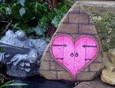 *The Door to My Heart* Hand Painted Garden Rock