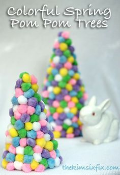 Colorful Spring Pom Pom Trees.. a great kid friendly craft!